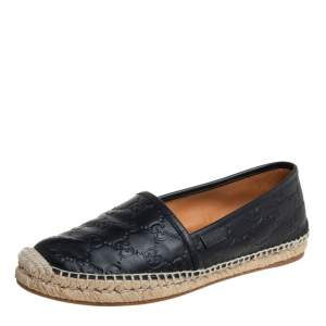Gucci Black Guccissima Leather Flat Espadrilles Size 39