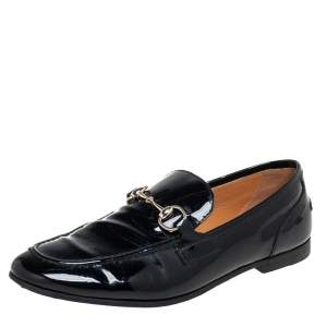 Gucci Black Patent Leather Horsebit Slip On Loafers Size 36.5
