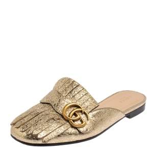 Gucci Gold Leather GG Marmont Fringe Mule Flats Size 38.5