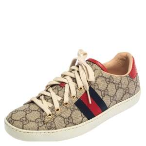 Gucci Beige/Brown GG Supreme Canvas Ace Web Low Top Sneakers Size 37