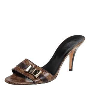 Gucci Brown Crystal Canvas Slip On  Sandals Size 38.5