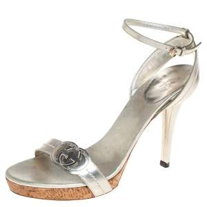 Gucci Silver Leather GG Ankle Strap Sandals Size 38.5