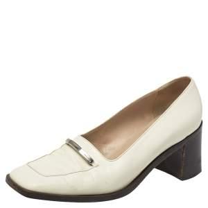 حذاء كعب عالي لوفرز غوتشي جلد أبيض بنعل سميك بالشعار جلد أبيض مقاس 38.5