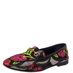 Gucci Multicolor Floral Print Jacquard Jordaan Horsebit Loafers Size 38