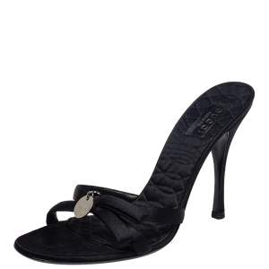 Gucci Black Satin Logo Slide Sandals Size 38.5