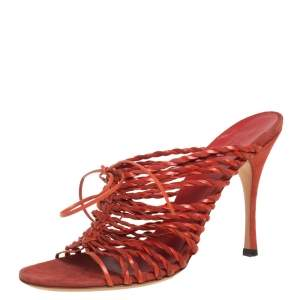 Gucci Orange Leather Strappy Mule Sandals Size 39.5