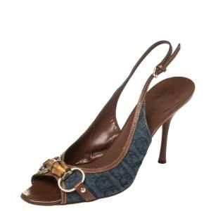Gucci Blue Denim Bamboo Horsebit Slingback Sandals Size 41