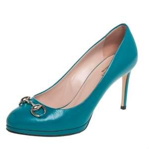 Gucci Blue Leather Jolene Horsebit Pumps Size 36.5