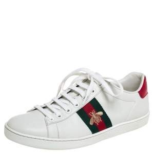 Gucci White Leatther and Canvas Ace Sneakers Size 37.5