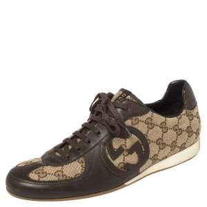 Gucci Brown Leather And Guccissima Canvas Royal Sport Interlocking GG Sneakers Size 39.5