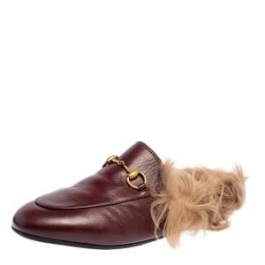 حذاء سلايد برينستون مزين هورسبيت فرو و جلد عنابي مقاس 37