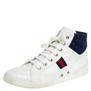 Gucci White Canvas And Leather Web High Top Sneakers Size 39