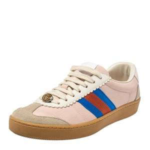 Gucci Multicolor Suede And Leather Web Low Top Sneakers Size 37.5