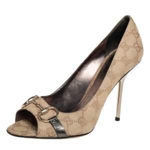حذاء كعب عالي غوتشي مزين هورسبيت مقدمة مفتوحة جلد و كانفاس بيج مقاس 39.5
