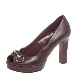 Gucci Burgundy Leather Horsebit Peep Toe Platform Pumps Size 36.5