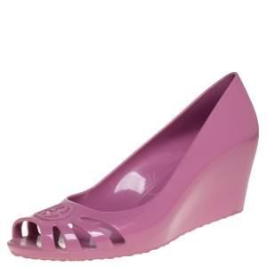 Gucci Pink Rubber Marola Wedge Peep Toe Pumps Size 37