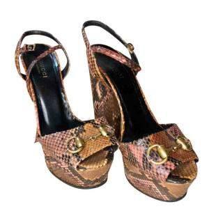 Gucci Brown Python Leather Horsebit Platform Sandals Size EU 36.5