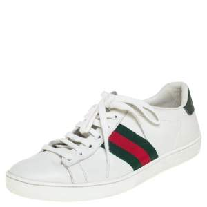 Gucci White Leather Ace Web Low Top Sneakers Size 37.5