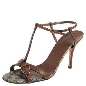 Gucci Brown Leather Ankle Strap Sandals Size 40