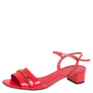 Gucci Red Patent Leather Horsebit Sandals Size 40