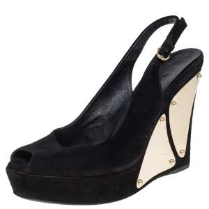 Gucci Black Suede Peep Toe Slingback Platform Wedge Sandals Size 37.5