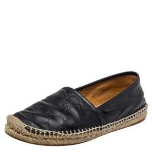 Gucci Black Guccissima Leather Espadrille Flats Size 40.5