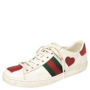 حذاء رياضي غوتشي برباط تفاصيل قلب ويب أيس جلد أبيض مقاس 37