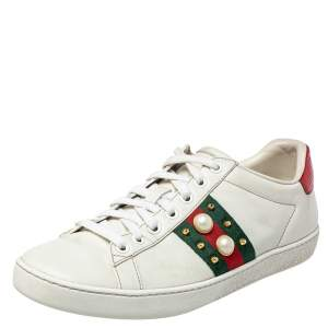 Gucci White Leather New Ace Web Faux Pearl Embellished Low Top Sneakers Size 38