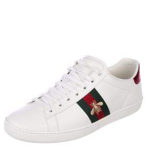 Gucci White Leather Python Embossed Leather Ace Bee Sneakers EU 35