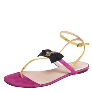 Gucci Pink/Gold Suede And Leather Moody Bow Flat Thong Sandals Size 37