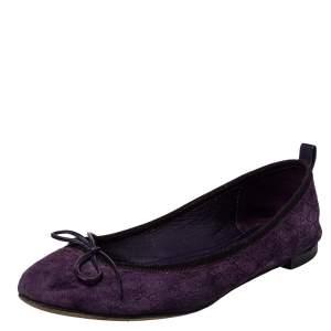 Gucci Purple/Black Suede Microguccissima Ballet Flats Size 37
