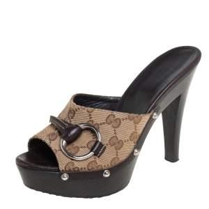 حذاء قبقاب غوتشي نعل سميك هورسبيت كانفاس جي جي بني/ بيج مقاس 36.5