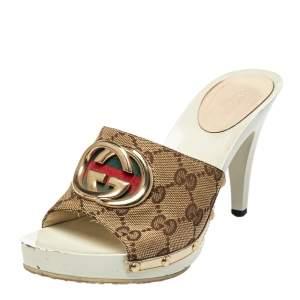Gucci Beige GG Canvas Clog Sandals Size 36