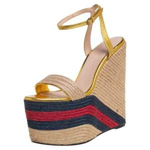 Gucci Metallic Gold Leather And Jute Web Platform Ankle Strap Espadrille Wedge Sandals Size 38