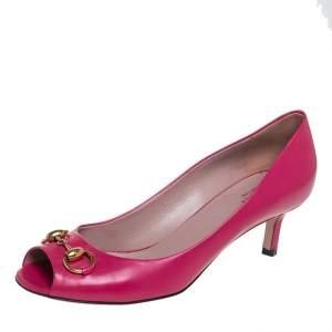Gucci Pink Leather Horsebit Peep Toe Pumps Size 39