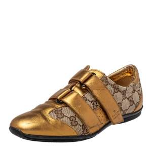 Gucci Gold/Beige GG Canvas and Leather Velcro Sneakers Size 36