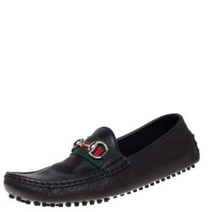 Gucci Black Leather Web Detail Horsebit Loafers Size 37.5