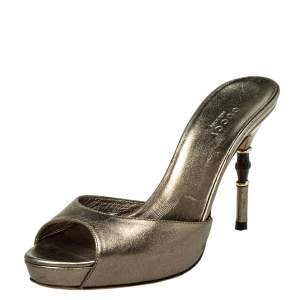 Gucci Metallic Bronze Leather Bamboo Heel Slide Sandals Size 35
