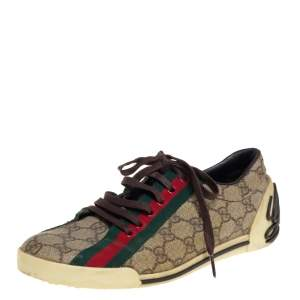 Gucci Brown/Beige GG Canvas Boulevard Script Logo Lace Up Sneakers Size 39