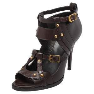 Gucci Dark Brown Leather Strappy Ankle Strap Sandals Size 38