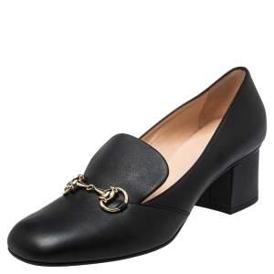 Gucci Black Leather Horsebit  Block Heel Loafer Pumps Size 39.5