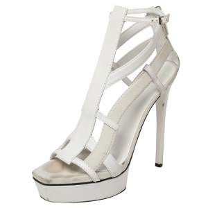Gucci White Suede And Leather Daryl Platform Sandals Size 37.5