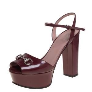 Gucci Burgundy Leather Claudia Horsebit Platform Ankle Strap Sandals Size 36.5