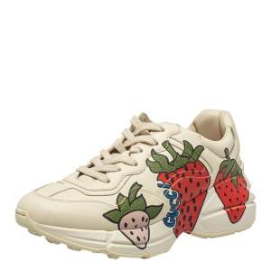 Gucci Cream Leather Rhyton Strawberry Print Low Top Sneakers Size 38