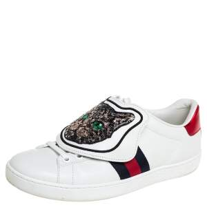 Gucci White Leather Ace Removable Patches Sneakers Size 35.5