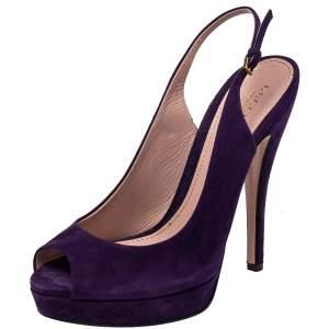 Gucci Purple Suede Peep Toe Slingback Sandals Size 40