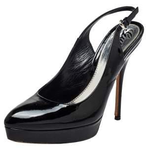 Gucci Black Patent Leather Slingback Platform Sandals Size 37.5