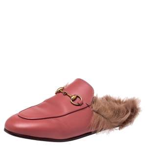 Gucci Pink Leather And Fur Princetown Sandals Size 36.5