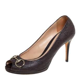 Gucci Brown Guccissima Leather New Hollywood Horsebit Peep Toe Pumps Size 39