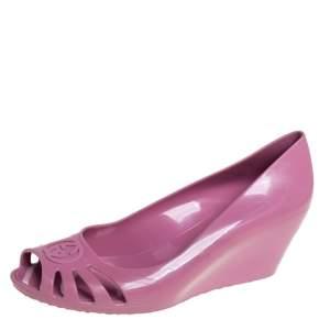 Gucci Pink Rubber Marola Wedge  Pumps Size 38